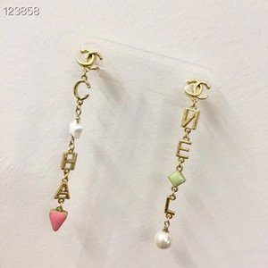 New Earring High quality Golden letter tassels fashion beautiful with box free shipping 070431