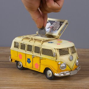 Vintage Bus Model Piggy Bank With Mini Photo Frame Home Decoration Car Model Crafts Handcrafts Figurines Retro Ornaments Decor T200709