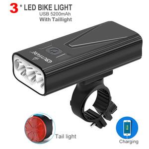 T6 Bicycle Light 5200mAh Power Bank LED Headlight USB Rechargeable Bike Light Waterproof Flashlight Cycling Accessories T200718