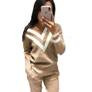 MVGIRLRU Осень и Зима Color Matching V-образный вырез свитер + Beam Брюки Вязаные Двухсекционный костюма