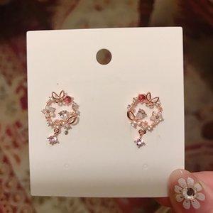 MENGJIQIAO New Korean Micro Pave Zircon Butterfly Flower Circle Drop Earrings For Women Dliecate Zircon Boucle D'oreille Jewelry