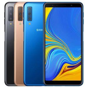 Remis à neuf d'origine Samsung Galaxy A7 2018 A750F Dual SIM 6,0 pouces Octa noyau 4 Go de RAM 64GB ROM 24MP débloqué 4G LTE Smart Phone DHL 5pcs