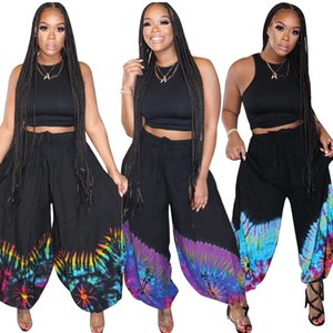2020 Newest Women Streetwear Loose Characteristic Printing Wide-legged Trousers Slacks Vest Outfits S--4XL Cropped Top + Pants 2PCS