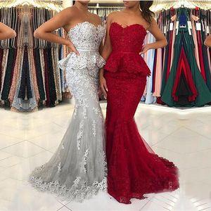 Lace Mermaid Prom Dresses Sweetheart Appliques Zipper Back Evening Formal Gowns Sweep Train Vestidos De Festa