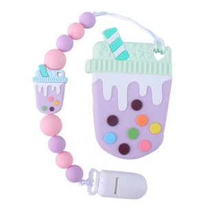 Baby Pacifier Clips Holder Chain with Ice Cream Teether Set Baby Dummy Clips Teething Toy Set Newborn Shower Gifts BPA FREE