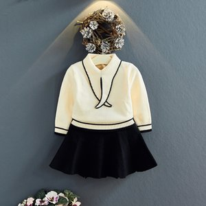 xD4sS 2019 autumn clothes Short skirt Korean style western style sweater knitted sweater half-length short skirt children's two-piece suit H