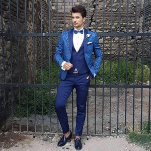 Custom Made Men's Suit 2020 Wedding Tuxedos Formal Printed Best Man Suits Groom Wear Tuxedos 3 Pieces Suits (Jacket+Pants+vest)