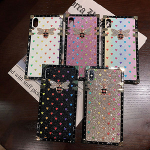 Für iPhone 11 Pro Max XS XR X 7 8 Plus Luxuxentwerfer Frauen Defender Phone Case Glitter Love Fashion Stoß- Diamant-Kasten