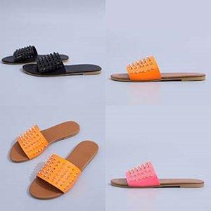 2020 002 # 964 Kutu Toz Boyutu35-45 Witout Kutusu Kadın Çantası Dener Üst Yaz Slayt Geniş Düz Sandalet Terlik Orijinal Mektup Fasion Sandalet Jjcca