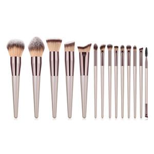 14pcs Makeup Brushes Kit Women Champagne Gold Wood Handle Synthetic Hair Pro Cosmetic Tool Make Up Brush Set Female