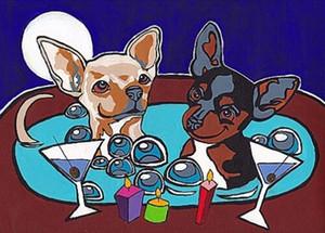 CHIHUAHUA Jakuzi Martini Köpek Sanat Yağ Tuval Wall Art Canvas Pictures 200.716 tarihinde Boyama Baskı VERN Ev Dekorasyonu Handpainted HD tarafından Boyama