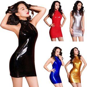 Sexy Mulheres Metallic Olhar Molhado Bodycon Top Sem Costas Mini vestido do PVC vinil brilhante do partido Noite Fetish Clubwear