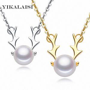 YIKALAISI 2017 Gioielli perla collana di perle naturali Renna sterlina dei pendenti 925 gioielli in argento per il regalo di Natale le donne YBMv #