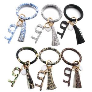 Bracelet Touchless Porte-clés No Touch porte d'ascenseur Crochet Ouvre Contactless Bracelet acrylique Porte-clés Accessoires Party Favor cadeau LJJP228