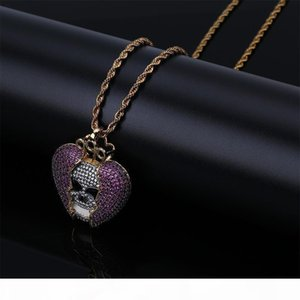 L Devil Skeleton Heart -Broken Drop Original Solid Zircon Hip -Hop Necklace European And American Personality Necklace Hot -Selling