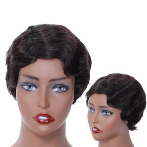 Pixie Cut Wig Lace Human Hair Wigs Full Density Remy Brazilian PrePlucked Hairline Bleached Knot Wavy Natural Black Color