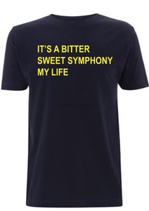 Эшкрофт тенниска Его Bitter Sweet Symphony My Life Текст песни The Verve T Shirt Men Топ тройники Мужская мода