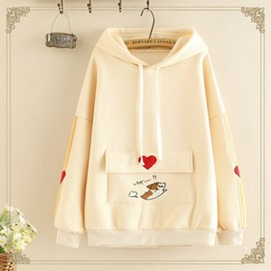 2019 New Women's cartoon love embroidery big pocket hooded warm Warm pullover pullover velvet sweater