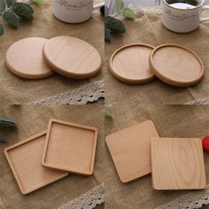 Copa cuadrado redondo Mat Coaster copas de madera antideslizante aislamiento de calor circulares de madera Líneas de la taza de té cuenco inferior Mats 10 5SM C2