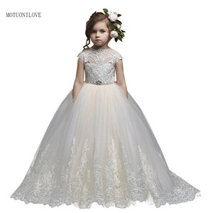 Flower Girl Dresses Girl Pageant Dress Backless Princess Lace Applique For Wedding Birthday Ball Gown First Holy Communion Dress