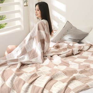 Muslin Cotton Home Bedding Blanket Summer Gauze Bedspread Kid Children Sleeping COvering Plaid