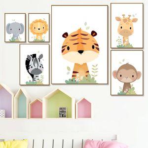 Jungle Animals Canvas Print Giraffe Elephant Zebra Nursery Wall Art Poster Paintings Nordic Safari Wall Pictures Baby Room Deocr