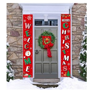 Hotsale Cheapest 12 styles 30*180cm Door Couplet Merry Christmas Banners Flags Polyester Outdoor indoor party hang decorations custom
