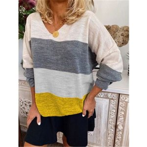 Women V-neck Striped T-shirt Autumn Fashion Long Sleeve Plus Size Tees Designer Hot Style Casual Splicing Female Top Tshirt Clothing