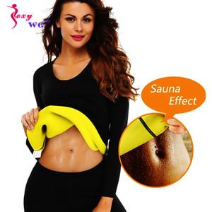 Kadınlar Bluz Ceket Uzun Kollu için SEXYWG Spor Popüler Yoga Gömlek Body Shaper İnce Bel Trainer Triko Neopren Sauna Shapewear