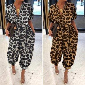 Leopard V Neck pagliaccetti estate colore del pulsante Oversize solido casuale progettista delle donne delle tute breve manicotto della signora Body