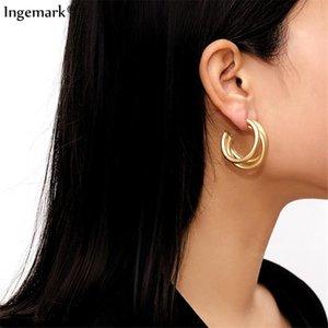 Ingemark Punk Gold Color Hoops Earrings Trendy Minimalist Thick Tube Round Circle Rings Earrings Hiphop Rock Jewelry 2020