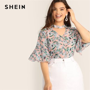 SHEIN Plus Size V-Cut Choker Floral Print Butterfly Sleeve Top Blouse 2020 Women Summer Casual Keyhole Half Sleeve Blouses