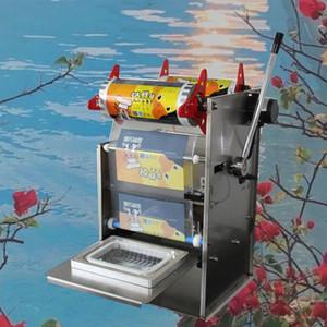 Горячая рука Пресс Square Box Упаковка машины из нержавеющей стали электрический Полуавтоматическая быстрого Готовые продукты питания лоток запайщик
