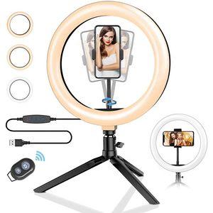 Luz del anillo LEDDimmable Con sostenedor del trípode del soporte del teléfono para selfie Transmisión en vivo Y Maquillaje Luz