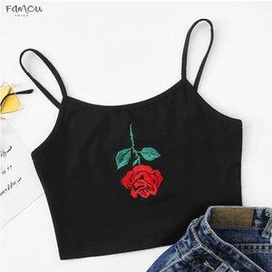 Summer 2020 Sexy Crop Tops Women Sexy Rose Embroidery Sleeveless Short Tee Shirt Crop Top Vest Tank Ropa Mujer Haut Femme