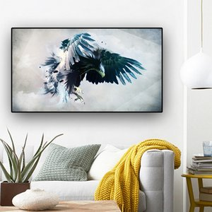 100x180cm Abstract Watercolor Brid Eagle Landscape Oil Painting Print on Canvas Art Animal Poster Wall Picture for Living Room