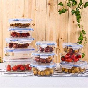 투명 뚜껑 누출 증거와 식품 저장을위한 뚜껑 유리 식사 준비 용기 밀폐 유리 저장 용기