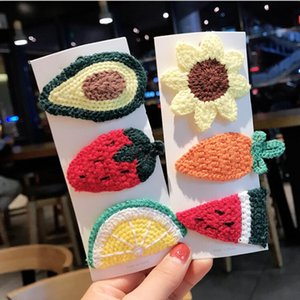 Lovely Avocado Carrot Girls Barrettes Hairgrips Unique Handmade Knitted Pattern Fruit Hair Clips Kids BB Hairpins Wholesale