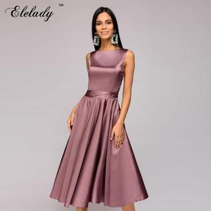 Southpire 2020 primavera verano de las mujeres ocasional del estilo de la vendimia vestido sólido de color Vestidos sin mangas Vestidos Femmal Midi