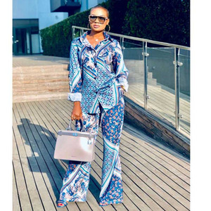 Blue Color 2020 Business Lady Turn-down Collar Sets Long Sleeve Long Pant 2 Peice Sets One Row Slim Women Outfits Matching