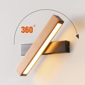Nordic bedroom bedside lamp solid wood aisle modern minimalist wall lamp creative study rotatable LED reading lighting RW281
