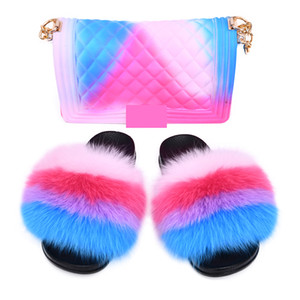 MAOMAOFUR Real Fur Slides with Matching Purse Set Women Fashion Rainbow Fluffy Big Fur Slippers Shoe Cute Colorful Jelly Bags