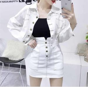 2020 Art und Weise Frauen Kleider weiße und schwarze Set-langärmliges Jean-Jacken-Mantel-weißer Rock Zweiteilige Denim Anzug dünne beiläufige Dame Vestido