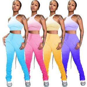Stunning Girls Lady Two-piece Tracksuits Fashion Gradient Prinint Stacked Joggers 2020 INS Popular Cropped Top and Sweatpants High Quality