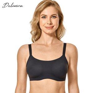 de DELIMIRA Mulheres Plus Size Zero Sinta espuma acolchoada sem emenda Comfort wirefree Bra