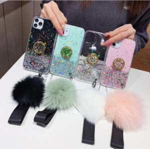 Glitter Epoxy Starry Sky Fur Ball Lanyard Case For iPhone 11 Pro Max XR XS 8 Samsung S10 Plus S20 Ultra Note 10 A51 A71 A11 A01 A31 A21 A21S