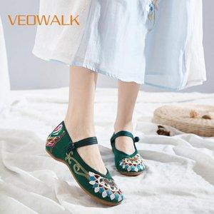 Veowalk Handmade Женщина китайского Старые пекинской обувь буддизм Тотем Вышитые балетки дама Повседневный Хлопок Ткань Танец Flats