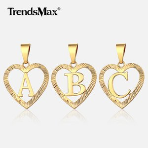 Alphabet Charm Heart Pendant Necklace A-Z Initial Letter Pendant Gold Color Women Girl Jewelry Gift Amazing Price GP373