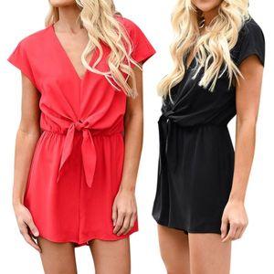 Women Casual Sweet Loose V-neck Short Sleeves Solid Color Slim High Waist Jumpsuit Fashion temperamental Summer Jumpsuit