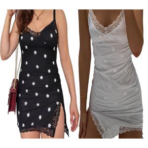Кружева Лоскутной Y2k платья сексуальных женщины Цветочных печати рукава Сплиты Bodycon Мини платье партия лето 90-й платья Cuteandpsycho